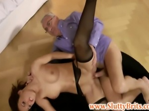 Old British sir ravages young classy babe in stockings