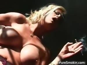 Naked blond chick smokes cigar with her part5