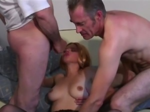 Old papy and his friend fuck the same whore