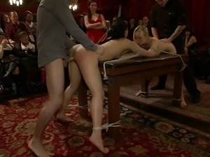 Celebrating with two girl bondage fucking