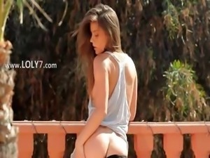 brunette have sexy garden shower