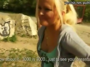 Pretty amateur blonde Czech girl Veronika anal slammed for cash