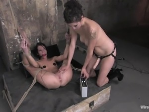 hot bound brunette milf punished by other women