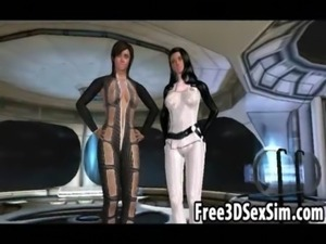 Two sexy 3D cartoon babes getting fucked on a spaceship free