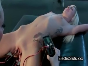 Clamped and electro shocked cunt torture free