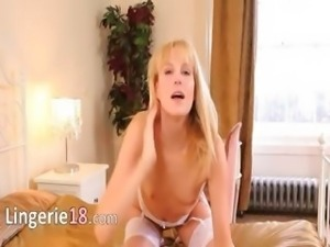 extremely sexy blondie in bedroom