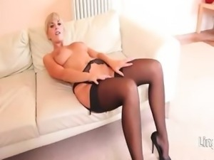 titty blonde with luxury lingerie