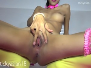Petite cherry girl show you pussy in exercise video.
