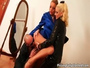 Nasty blonde bitches go crazy sucking part1