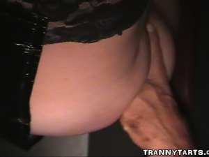Now one of our naughty crossdressers sucks and fucks cocks at the gloryhole....