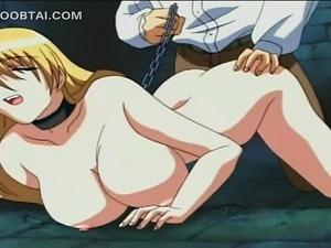 Blonde hentai sex slave in chains takes big shaft deep in her cunt