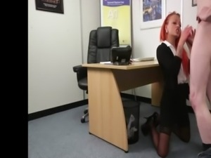 Office dom finally blows tiny dick to help him out free