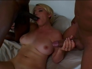 Interracial dp threesome for blonde slut