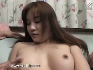 Toys in her tiny japanese anal hole
