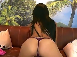 Innocent looking teen Latina Daniela with sexy long black hair demonstrates...