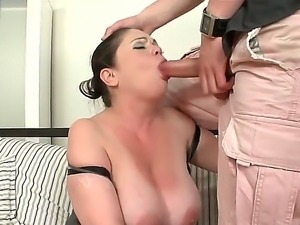 Mature lady Rebeka loves feeling young Mark Zicha drilling her pussy and mouth