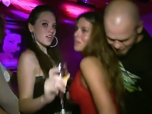 Two hot bitches got so drunk that they started giving blowjob to some guy in...