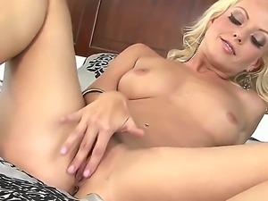 Amazing blonde Jana Cova is proud of her perfect body and natural perky tits