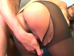 The beautiful blonde she-male in a black stockings sucks a cock and gets...