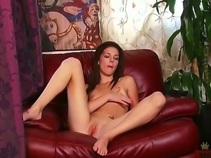 Cute brunette in sexy linngerie is sitting in the arm-chair and petting her...