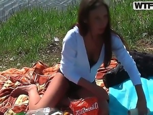 Abbey and her lover get their clothes off in the nature by the lake and enjoy...