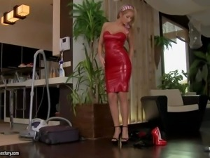 Tall blonde babe Karina Shay in black shoes and red
