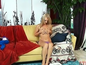 Curious blonde Hailey Holiday makes her solo entrance and does it gracefully