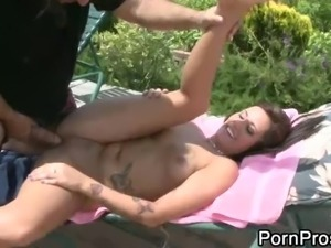 Young chick Tasia Banks gets her tight hairless pussy fucked