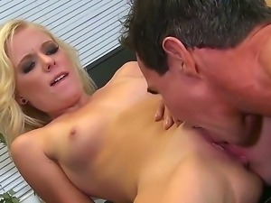 Alluring blonde Elaina Raye is getting her luscious pussy licked by Peter...
