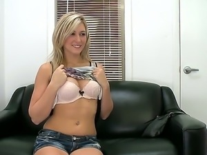 The so sexy and beautiful blonde masturbates her sweet vagina and sucks her...