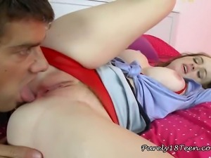 Young brunette brings the visiting cop in her bedroom and let him finger and...