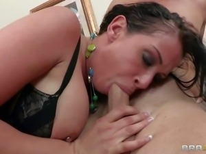 Gorgeous dark haired secretary Tory Lane gets her shaved pussy