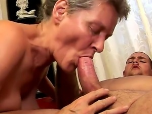 Horny hairy granny Aliz gets her muff licked and pounded hard returning the...