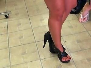 Horny brunette teases guy enough to get his cock hard as a rock and ready to...