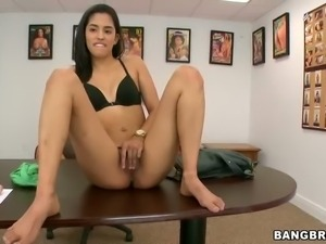 Small titted sexy chick Maria in black bra and with