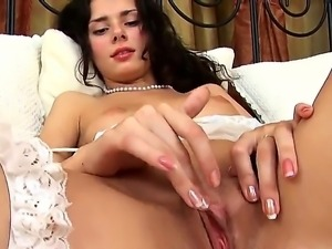 The gorgeous brunette pornstar Helena with a small tits makes a blowjob to...