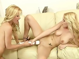 Sexy blonde lesbian enjoys as her tight gaping cunt is fingered before...