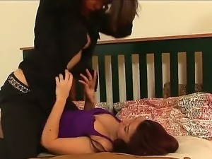 The attractive wild whore Ann Marie Rios with a small tits seduces her friend...