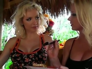 Two beautiful blondes Margo and Molly Cavalli with their perfect boobs and...