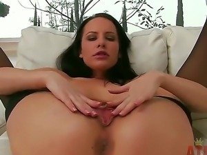 Sexy Katie St Ives in sexy black stocking strips as she gets down to rubbing...