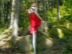 Beata is a cute teen girl in sexy red dress.