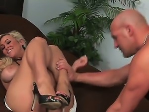 Blonde with huge tits Abbey Brooks gets severly pounded by this hunk and his...