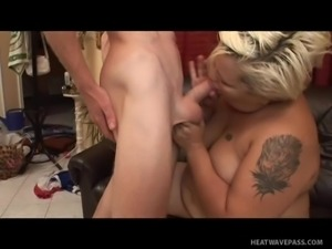bald dude fucking a bbw on the couch