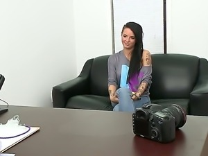 Extreme beauty by amazing brunette Christy Mack at her first time audition