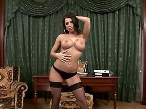 Sexy brunette Candy Strong takes off her hot black lingerie and rocks her...