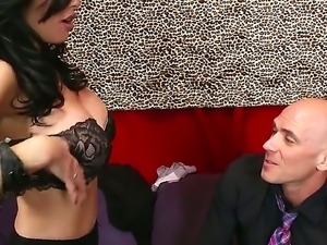 Brunette with huge tits Veronica Avluv enjoys having horny male Johnny Sins...
