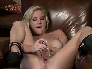 Adorable lady with beautiful hair and perfect tits Ainsley Addison surprises...