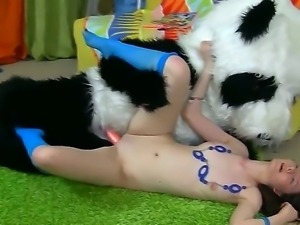 Teen Nicky gets deep pouned by her panda bear wich satisfied his wildest desires