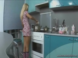 Blonde tease in kitchen free