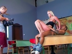 Great backstage scene right in the classroom with sexy blonde teacher and her...